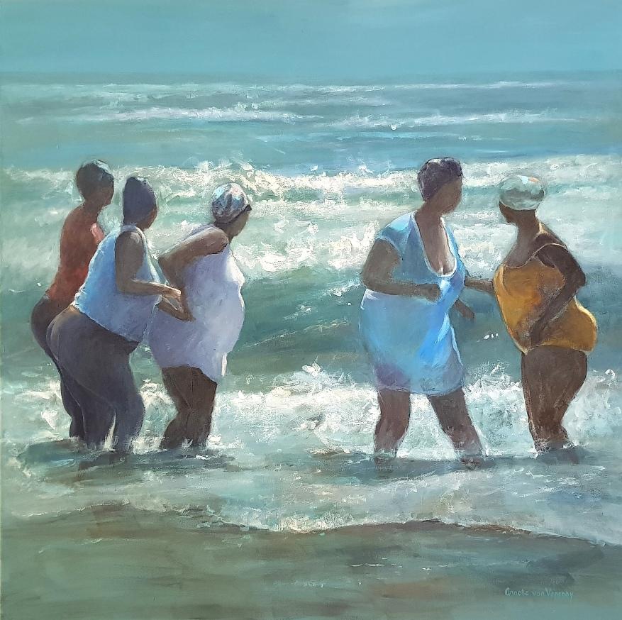 vriendinnen in zee